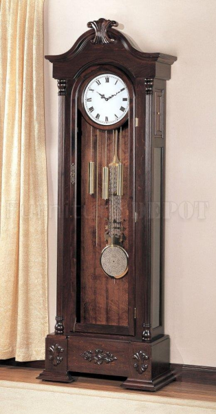 Warm Brown Finish Large Scaled Grandfather Clock w/Button Motion