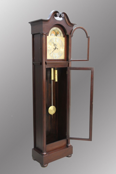 Large Mahogany Grandfather Clock, Moon Face Dial: 16137: Removed