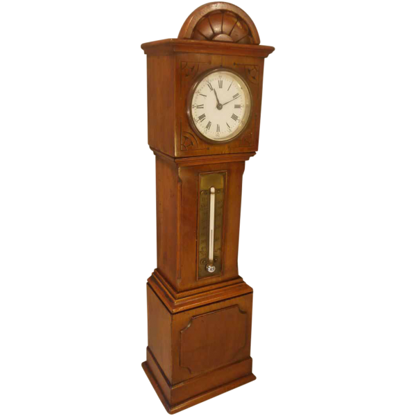 Antique Mahogany Miniature Grandfather Clock , Thermometer , circa ...