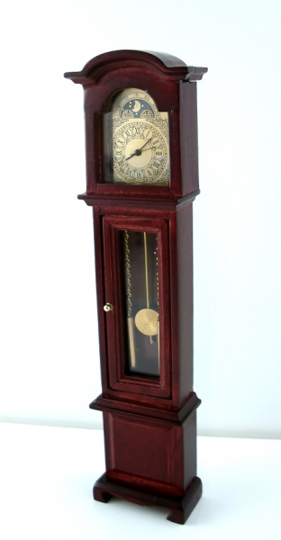 ... about Dollhouse Miniature Working Quartz Mahogany Grandfather Clock