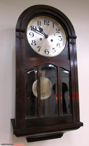 Regulator Clock Mini Grandfather Wall Clock Deco 1930's Walnut