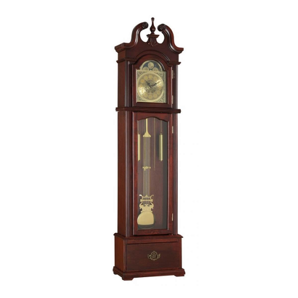 Valentine collection cherry finish wood grandfather clock with carved ...