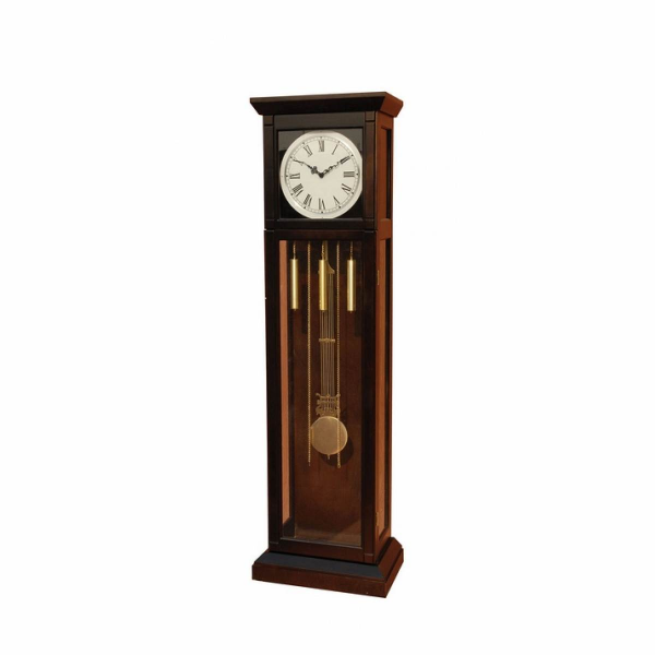 Tujaram collection dark walnut finish wood grandfather clock with ...