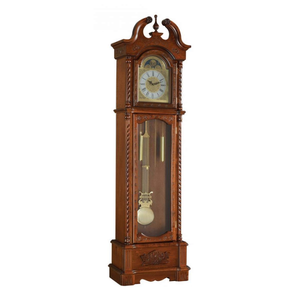 Quincey collection dark oak finish wood grandfather clock with carved ...