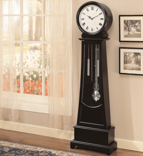 Details about Contemporary Grandfather Clock Black Wood Modern