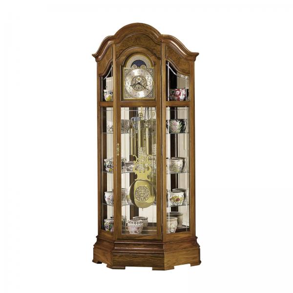 Howard Miller Majestic 88.25 Oak curio Grandfather floor clock 610940
