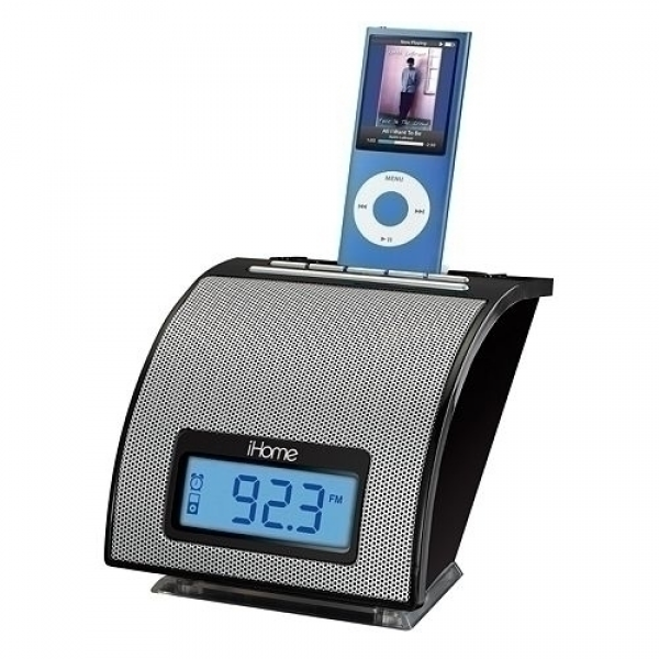 Curve alarm clock radio. A docking station plays and charges your iPod ...