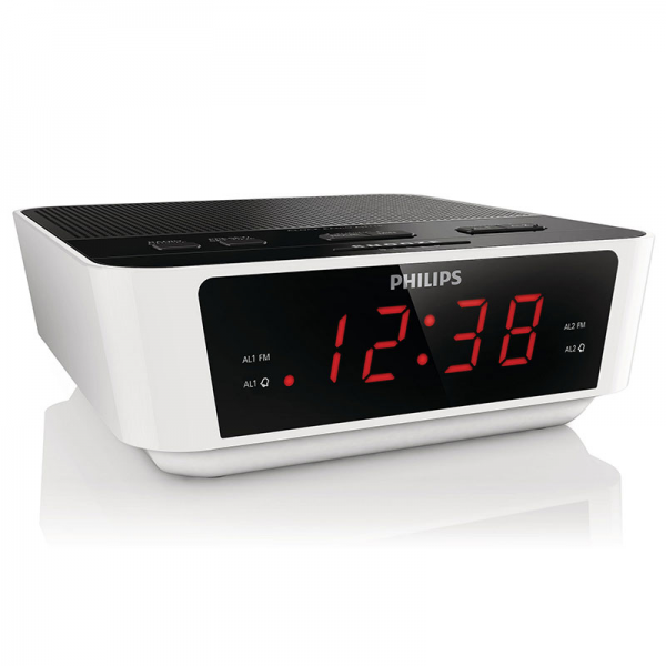 Philips Dual Alarm Clock Radio with Digital FM Tuner in White/Black