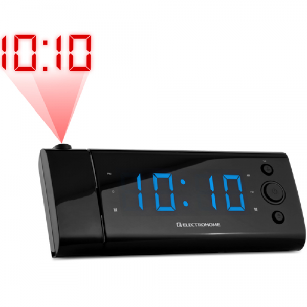 Electrohome® USB Charging Alarm Clock Radio with Time Projection ...
