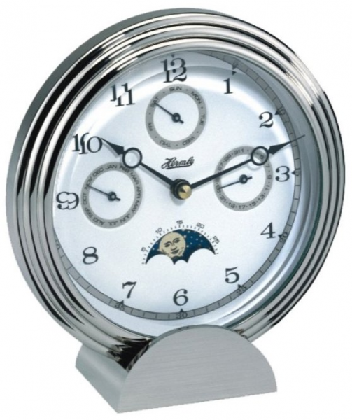 Chrome Desk Clock with Moon Phase and Calendar