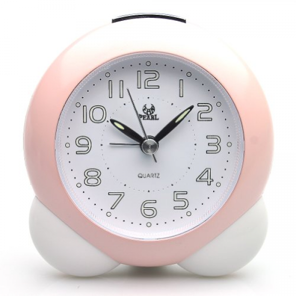 ... Quiet Bedside Battery Operated Analog Alarm Clock (Pink) - Top-clocks